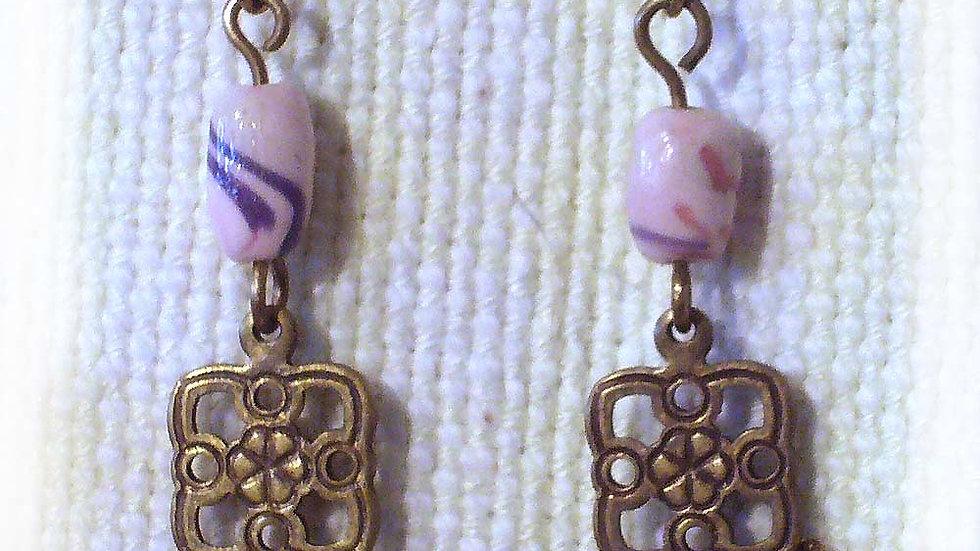 Earrings Pink marble beads