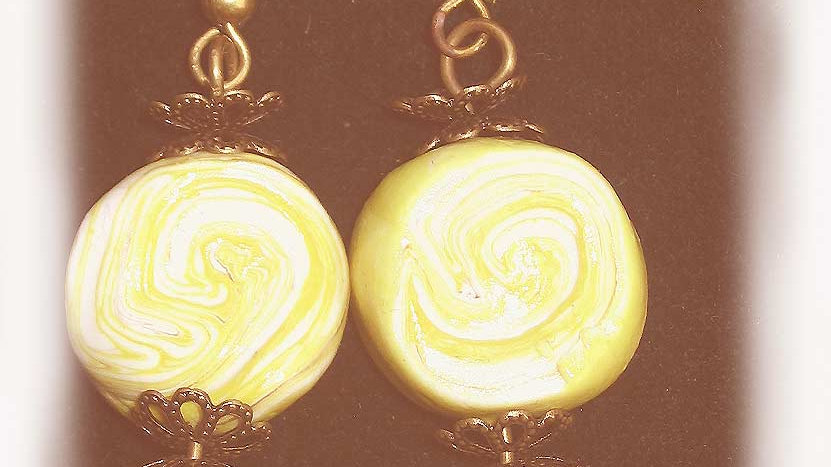 Earrings Yellow marble beads