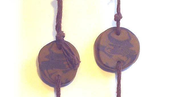 Earrings Brown marble on rope