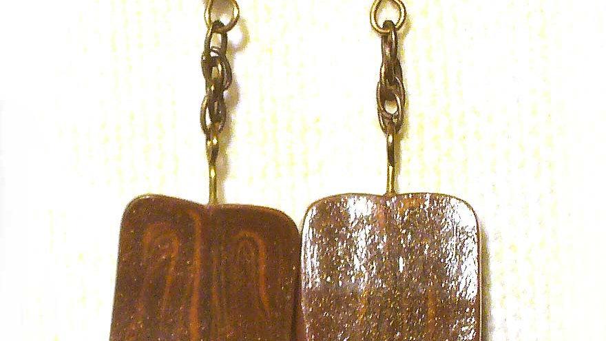 Earrings Brown marble plate