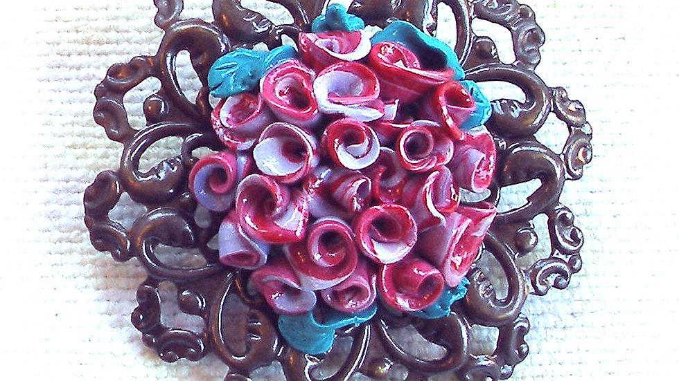 Purple bouquet on metal plate