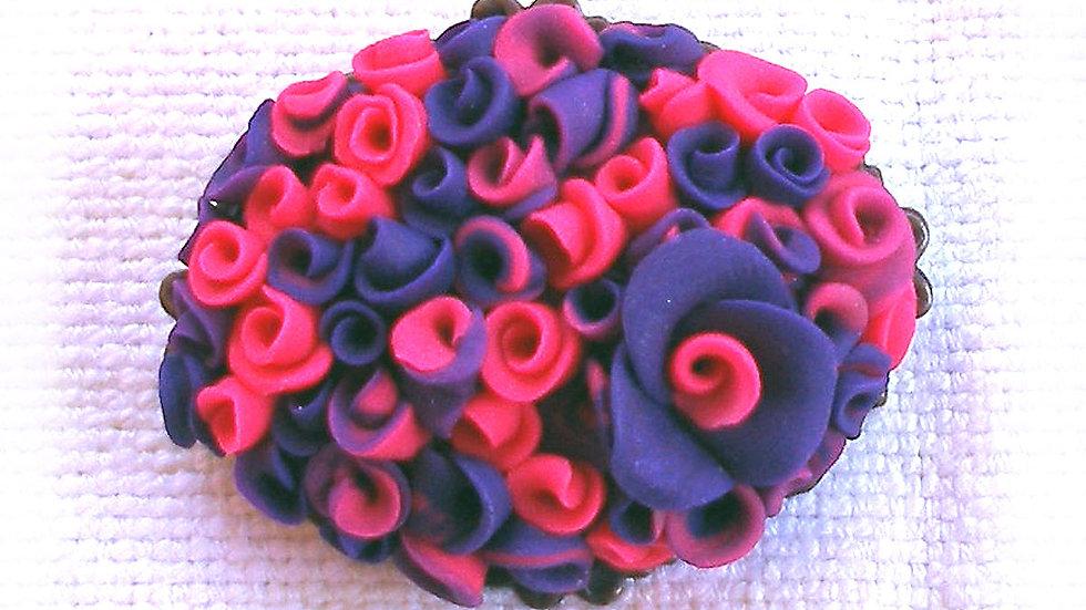 Blue-purple bouquet on metal plate