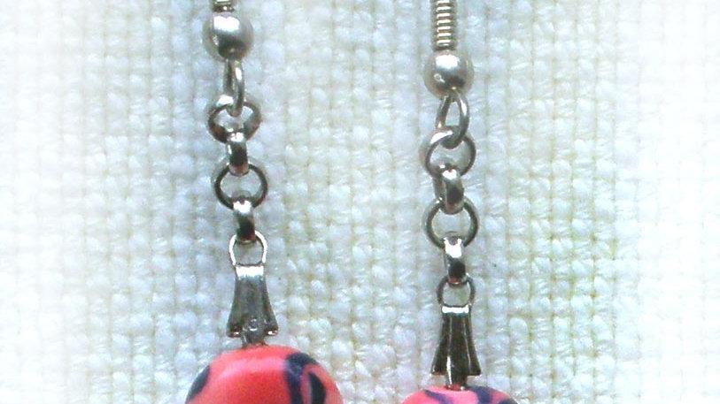 Earrings Pink beads