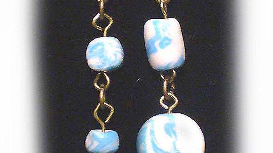 Earrings White-blue beads