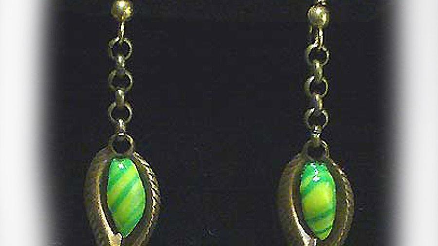 Earrings Green droplets