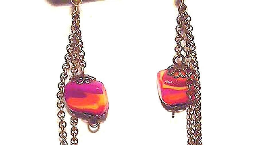 Earrings Purple red beads