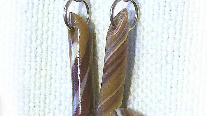 Earrings Brown marble