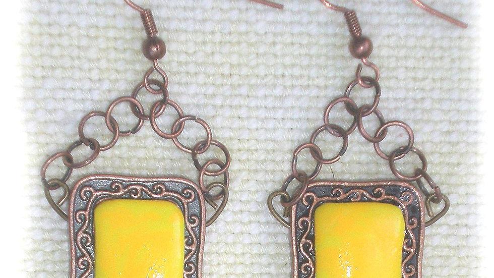 Earrings Yellow on metal plate