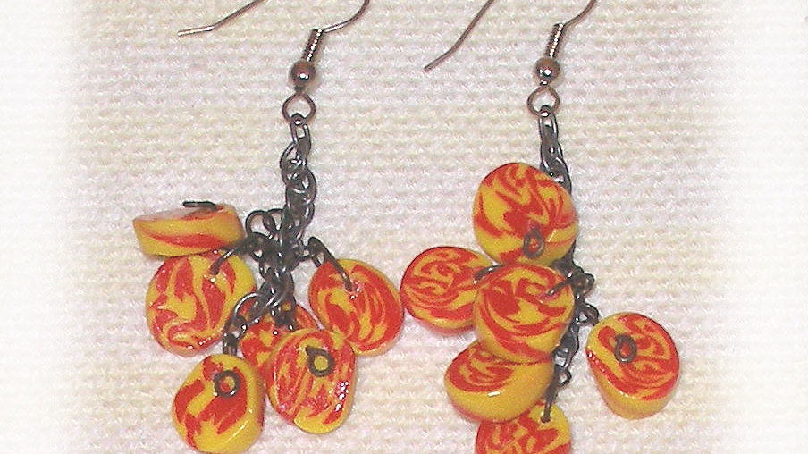 Earrings yellow red marble