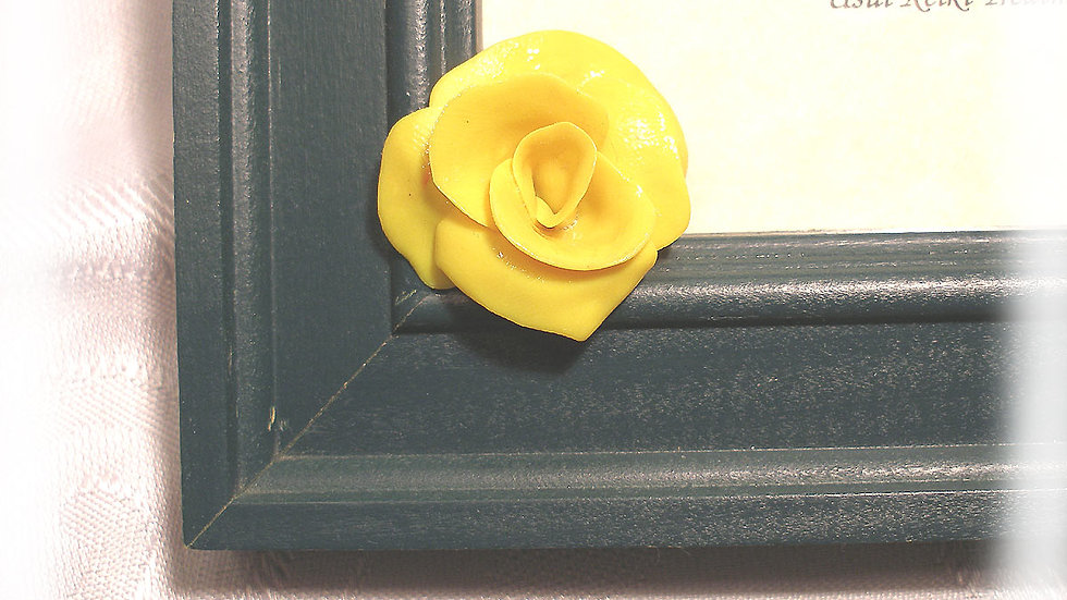 """Yellow rose flowers on corner about 11"""" x 12"""" dark green frame"""