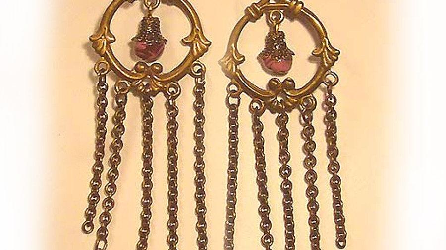 Earrings Red marble