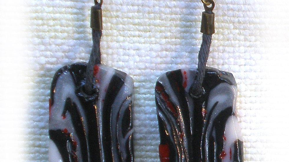 Earrings Black marble