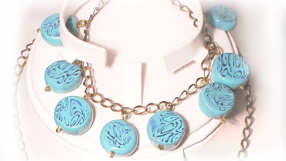 Light-blue marble beads