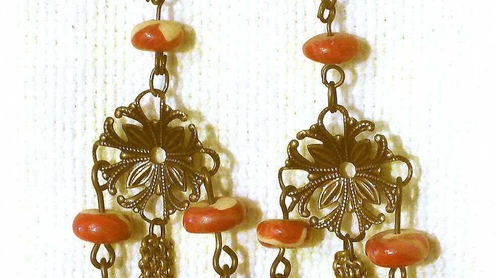 Earrings Red-brown beads