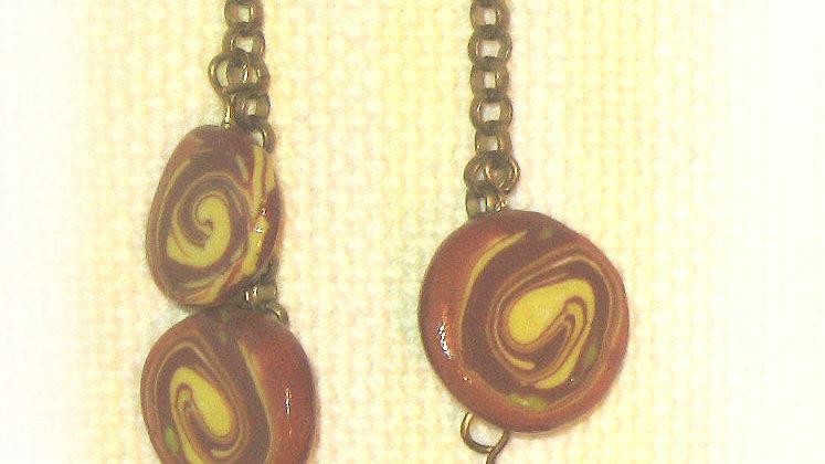 Earrings Brown marble swirl