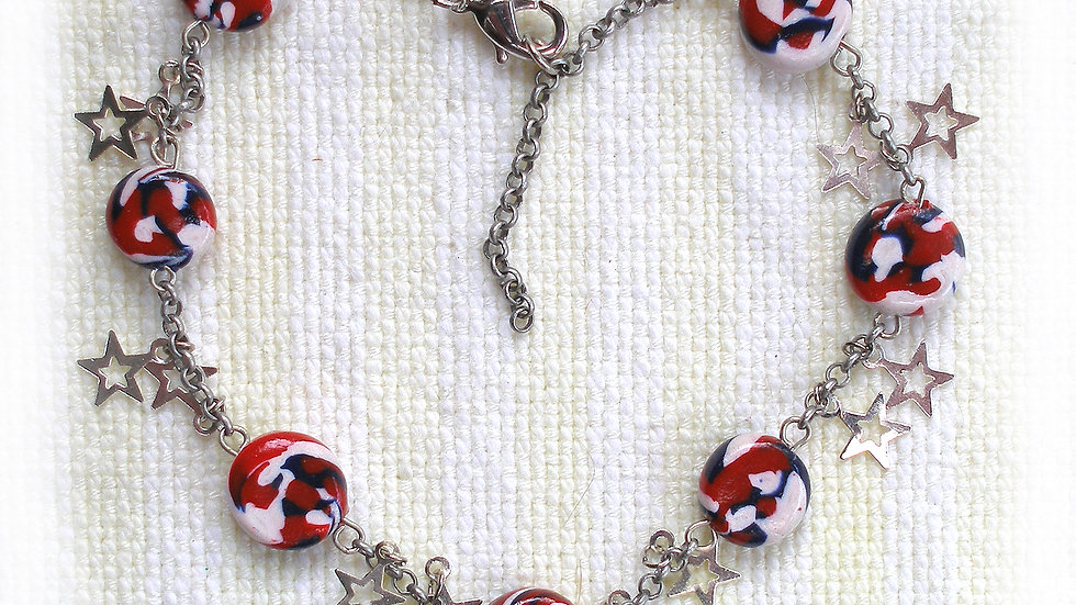 Red-white marble beads