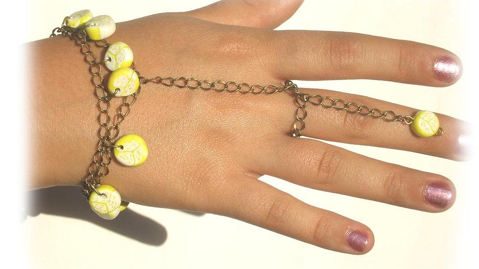 Yellow swirl beads
