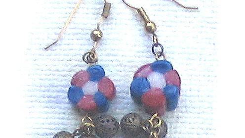 Earrings Blue-white-red