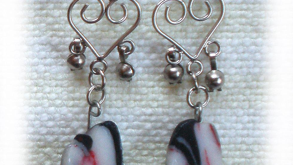 Earrings Black-white-red marble