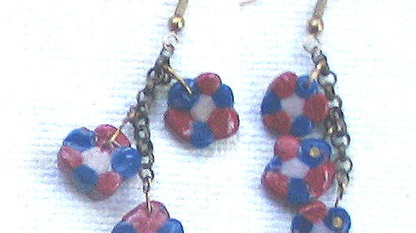 Earrings Blue-white-red beads