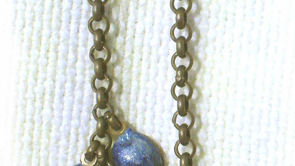 Earrings Blue beads on chain