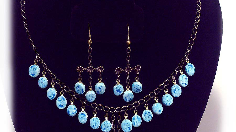 Light-blue droplets