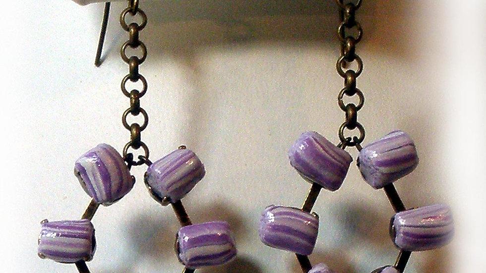 Earrings Purple beads