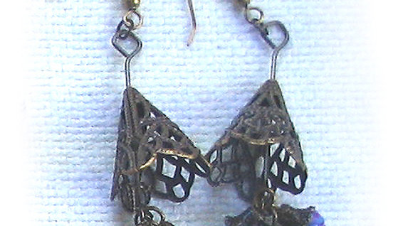 Earrings Blue-purple marble beads