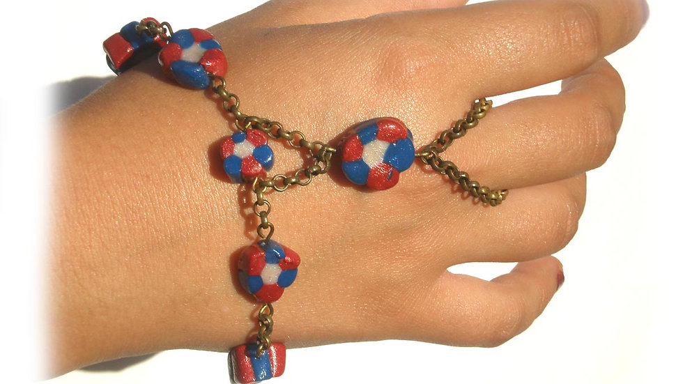 Blue-white-red beads