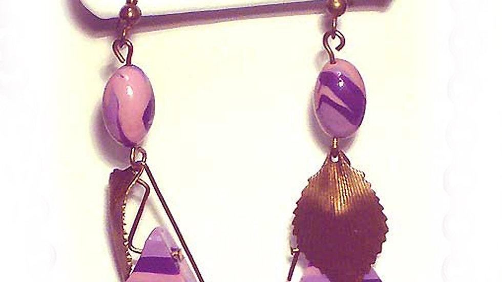 Earrings Purple triangle