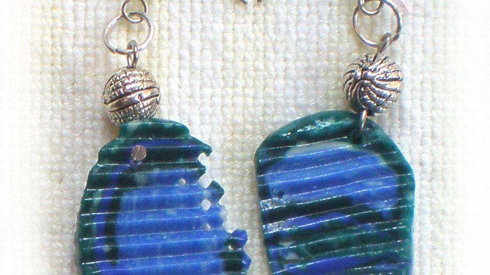 Earrings Blue-green marble ridges