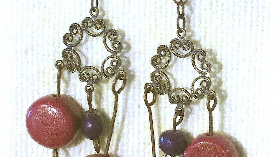 Earrings Red beads