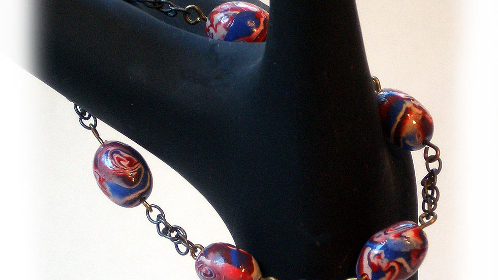 Red-blue marble beads