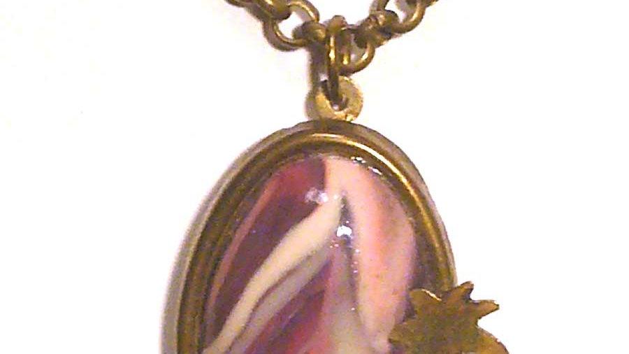 Purple marble on metal plate pendent