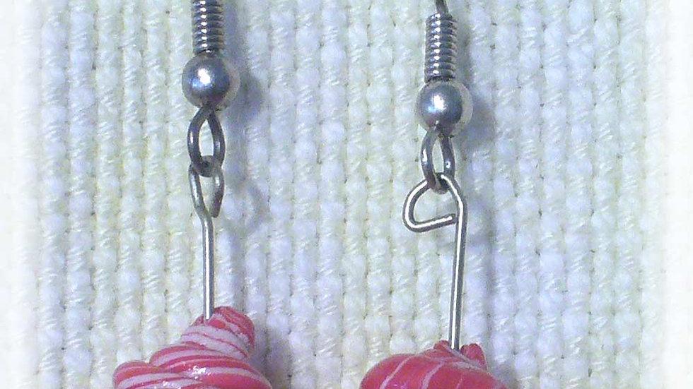 Earrings Pink marble coil