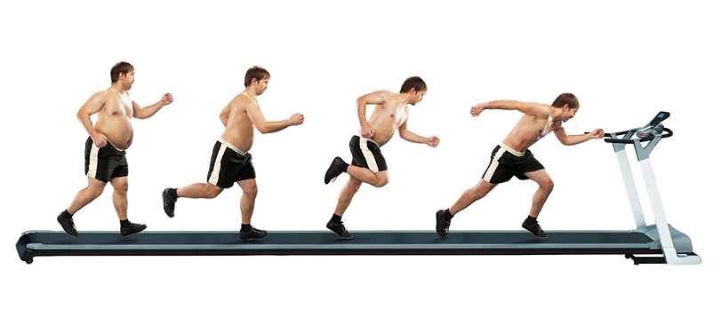 Guy getting fit using high intensity interval training treadmill workout