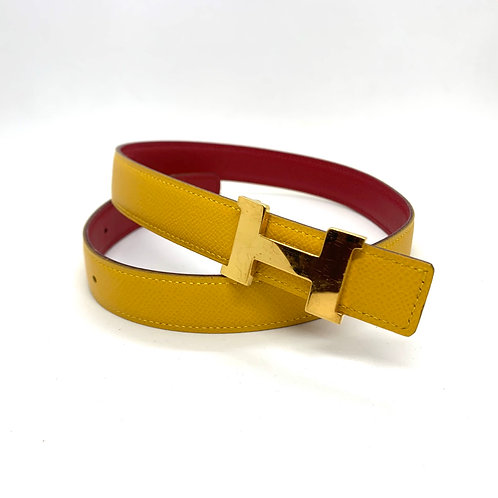 HERMES Constance Narrow H logo Yellow and Red Reversible Leather Belt