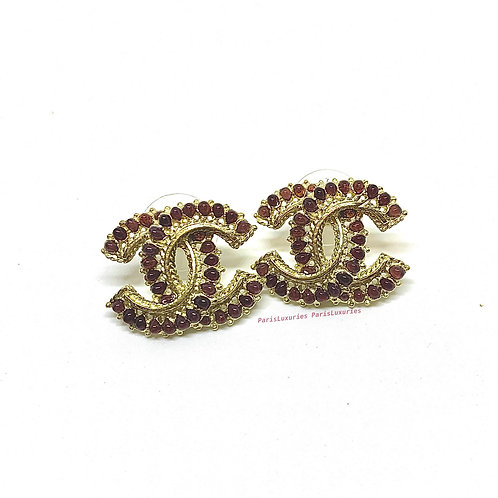 Chanel Paris Dallas Collection Large Red Garnet CC Studs Earrings