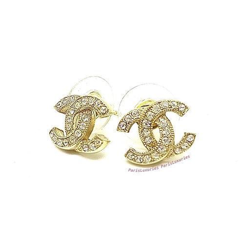 CHANEL Classic Gold Rhinestone CC Coco Crystal Earrings