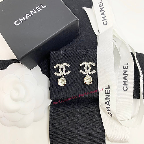 CHANEL Rare Large Crystal CC Logo Coco Dangle