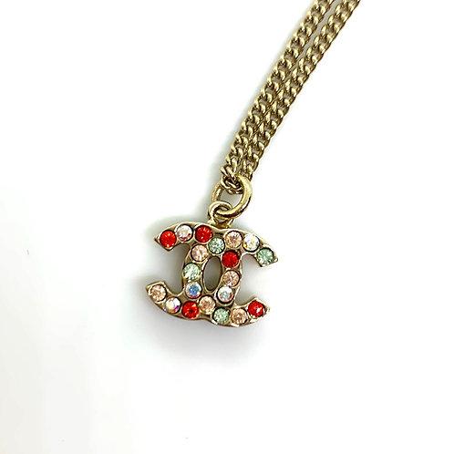 CHANEL Vintage Rare Multicolor Crystal CC Chain Pendant Necklace