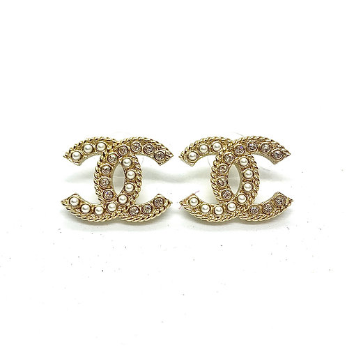 CHANEL Brand New Pearl Crystal Large CC Piercing Earrings
