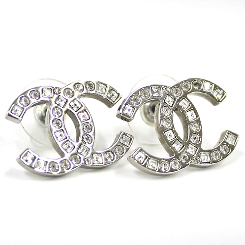 CHANEL Large Silver CC Square Circle Swarovski Earrings