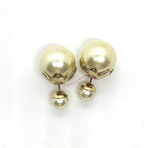 Dior CD Mis en Tribale Limited Edition White Double Pearl Studs Gold Leaves