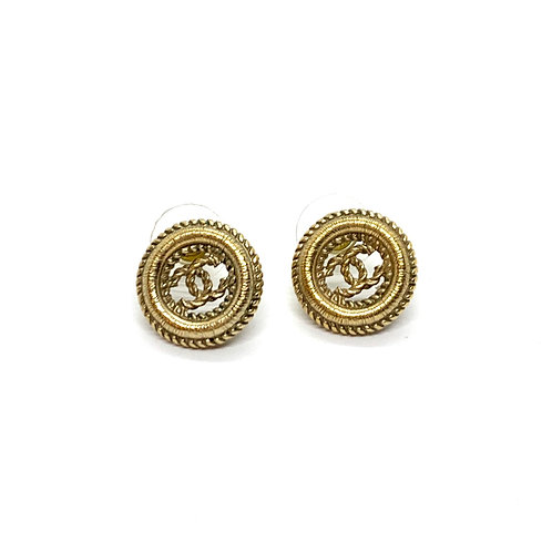 CHANEL Gold Tone Round CC Textured Twisted Pierced Earrings