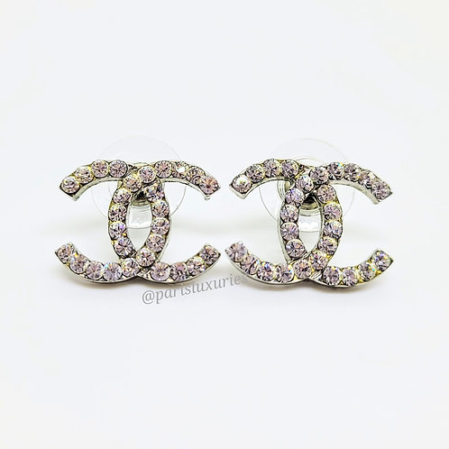 CHANEL Silver Large Crystal CC Classic Earrings