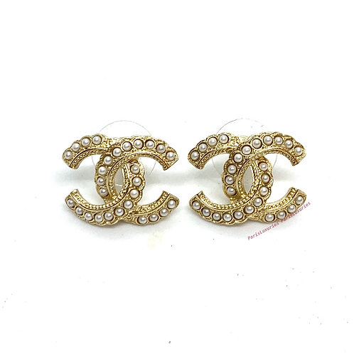 CHANEL Gold CC Pearl Studded Brand New CC Logo Earrings