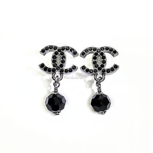 CHANEL Black Onyx Crystal CC Silver Dangle Pierced Earrings