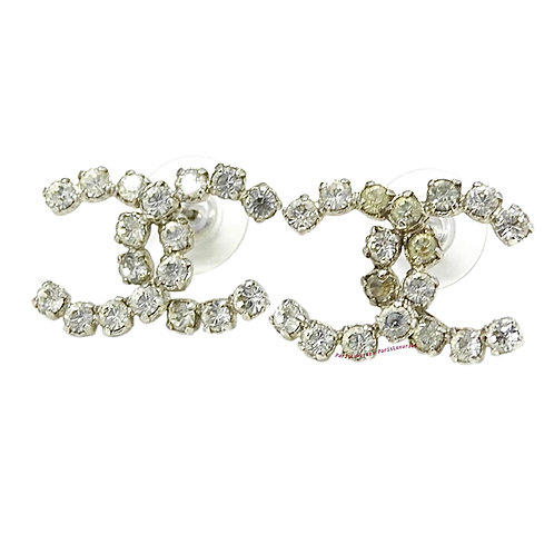 CHANEL Silver Large Rocky Crystal Bling CC Pierced Earrings