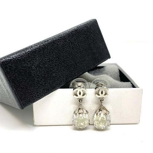 CHANEL Silver CC Teardrop Pear Large Crystal Swing Earrings